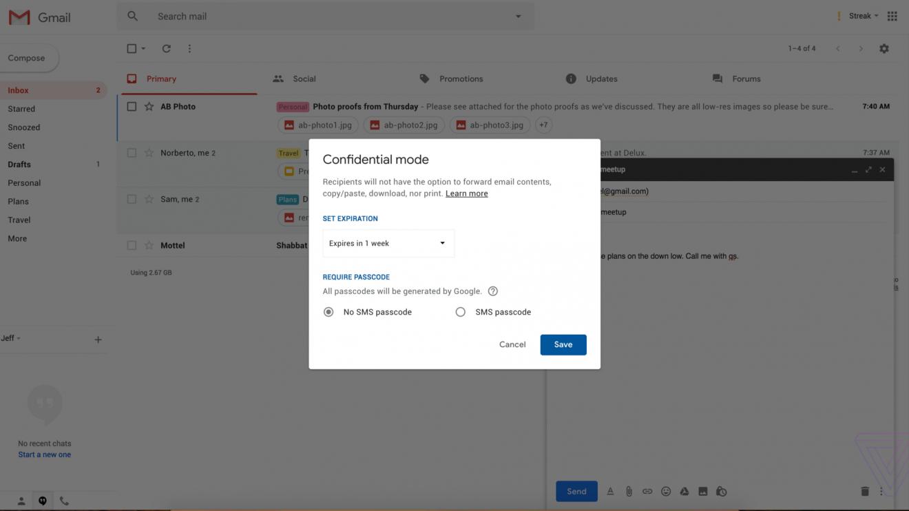 Gmail се променя - ще има поверителен режим и заключени с парола писма