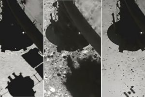 Уникално видео показва как космическата сонда Hayabusa2 прострелва астероида Ryugu, за да вземе проби