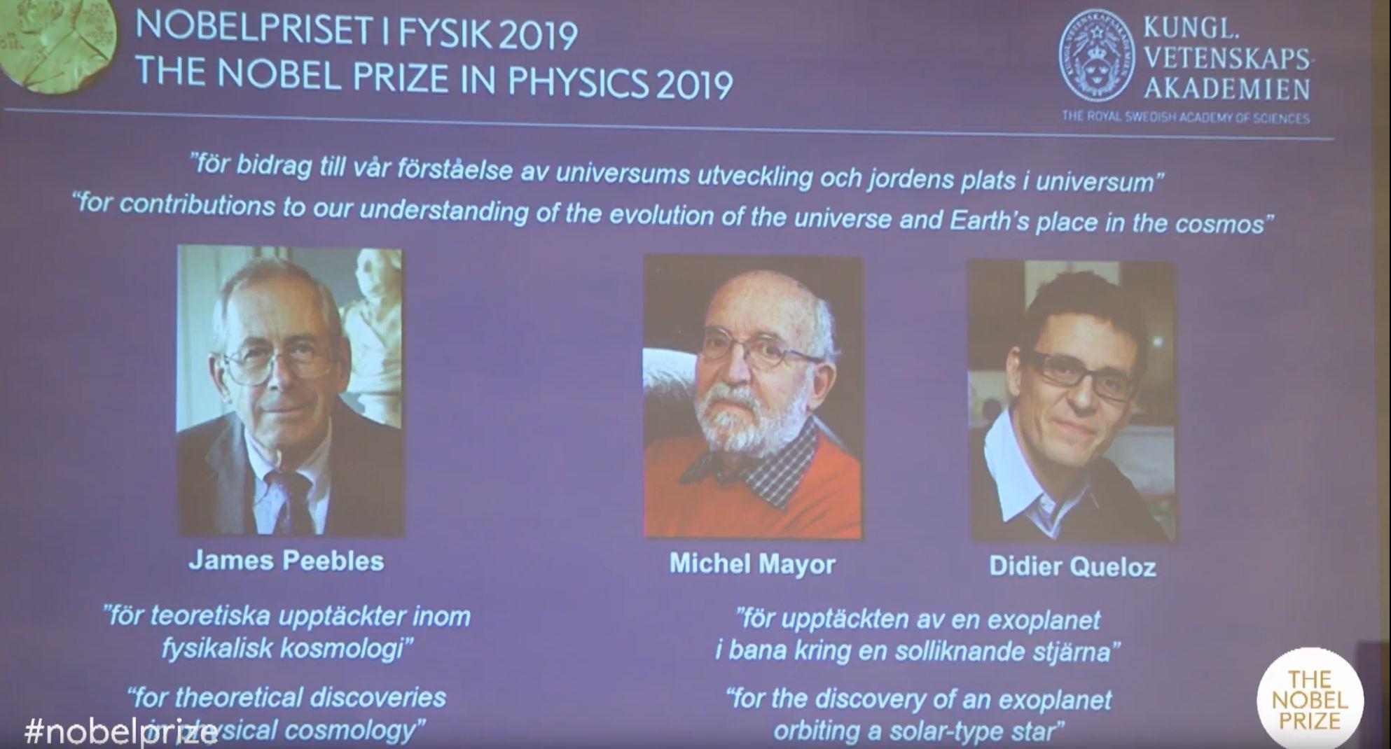 (видео) Трима учени получават Нобелова награда за физика за принос в разбирането на еволюцията на Вселената