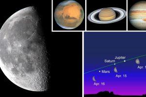 Нов небесен спектакъл с участието на Луната, Юпитер, Сатурн и Марс ще се наблюдава от 14 до 16 април