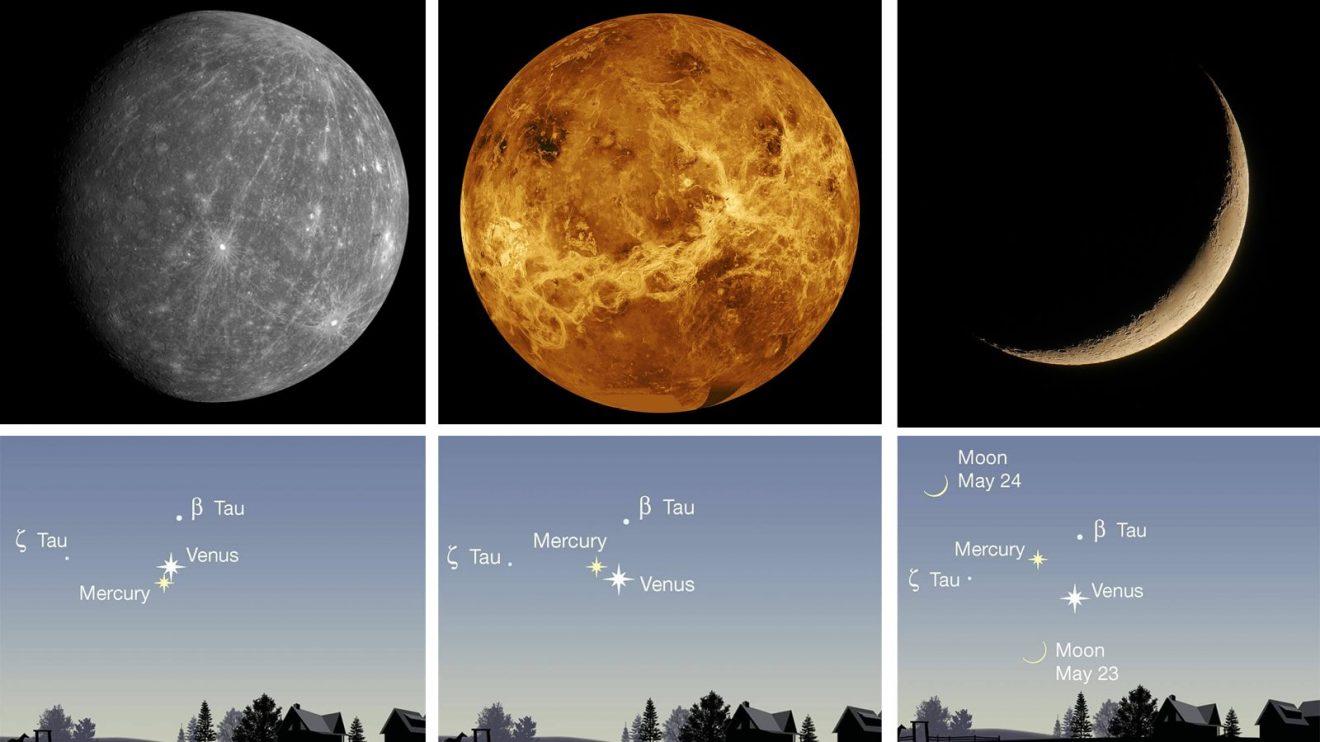 Във вечерите около 23 май ще се наблюдава сближение на Меркурий, Венера и Луната