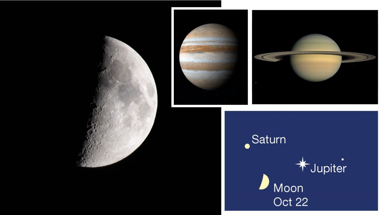 На 22 октомври вечерта ще видим сближаване на Луната, Юпитер и Сатурн