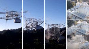 """Видео показва срутването на 900-тонната платформа върху чинията на радиотелескопа """"Аресибо"""""""