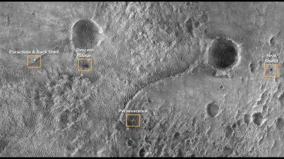 Мястото на кацане на Perseverance, заснето от орбитата на Марс (Астрономическа снимка на деня – APOD)