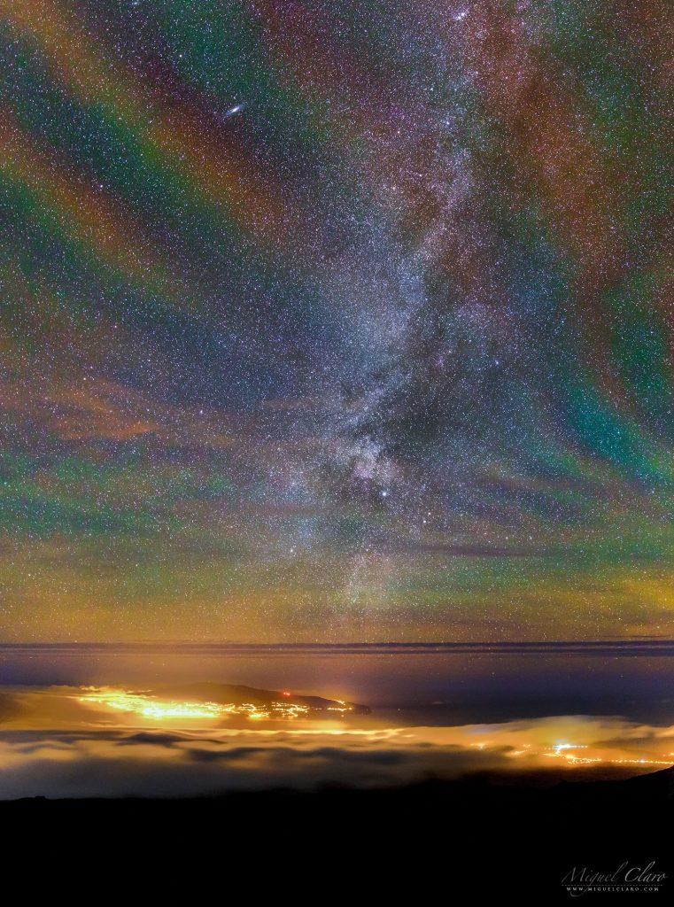 Въздушно сияние в цветовете на дъгата над Азорските острови (Астрономическа снимка на деня – APOD)