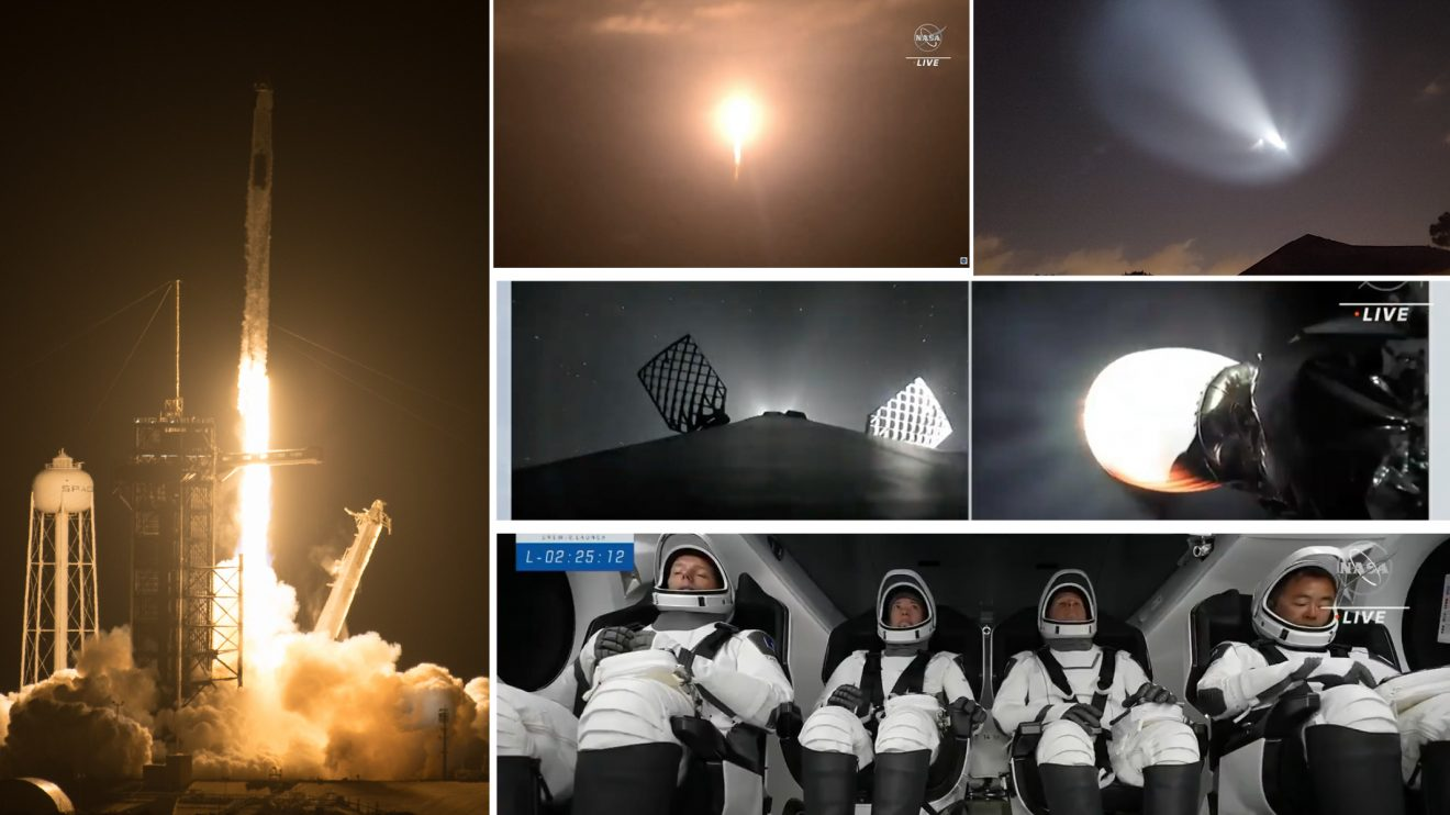 SpaceX изстреля успешно 4-ма астронавти от 3 държави до МКС с пилотирания кораб Crew Dragon (видео + снимки)