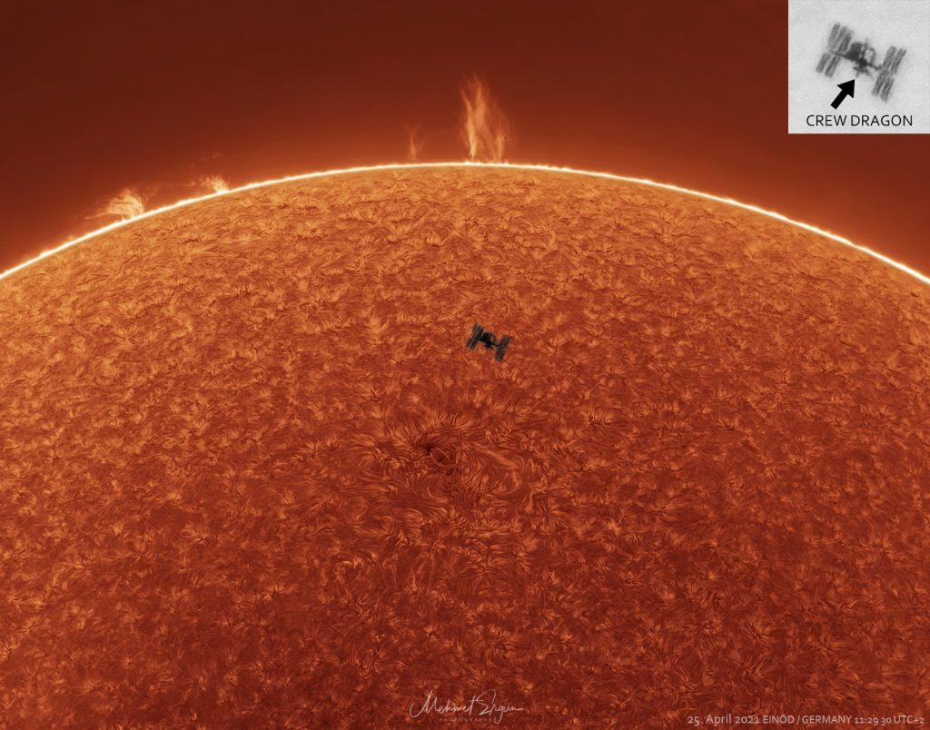 Космическа станция, слънчеви изпъквания, Слънце (Астрономическа снимка на деня – APOD)