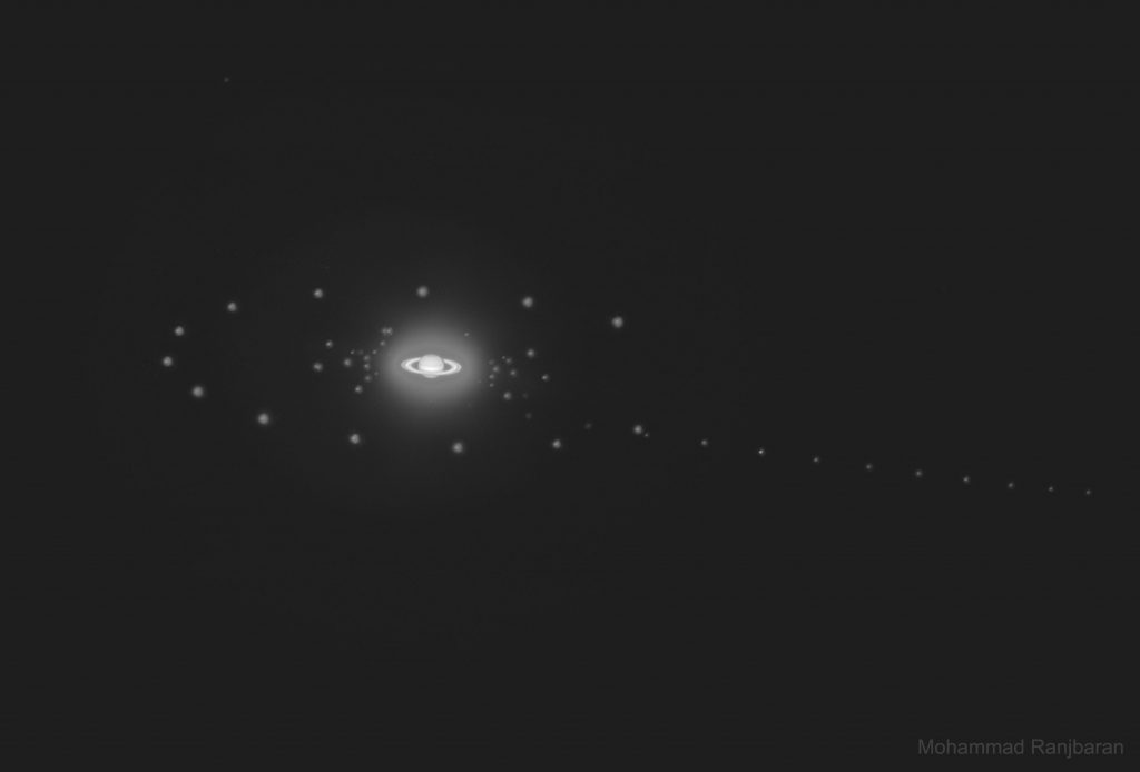 Сатурн и шест спътника (Астрономическа снимка на деня – APOD)