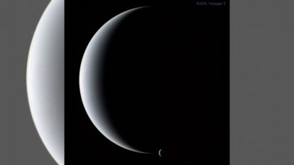 Нептун и Тритон като тънък сърп (Астрономическа снимка на деня – APOD)