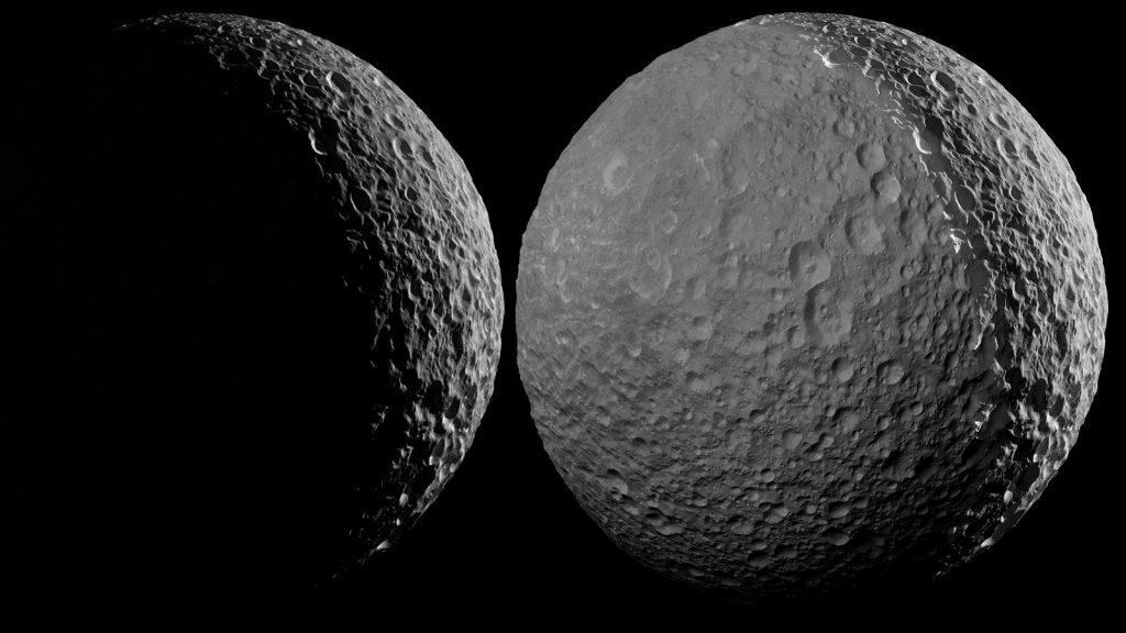 Мимас огрян от светлината на Сатурн (Астрономическа снимка на деня – APOD)