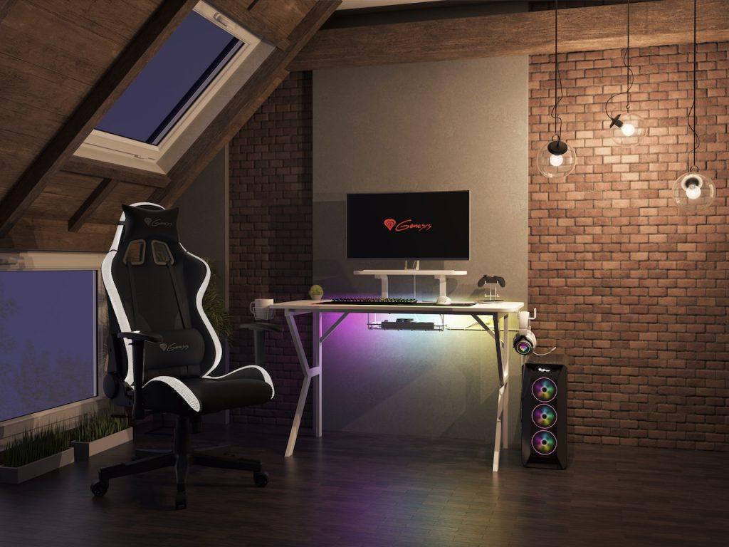 Genesis пуска на пазара геймърско бюро с LED осветление - HOLM 320 RGB White