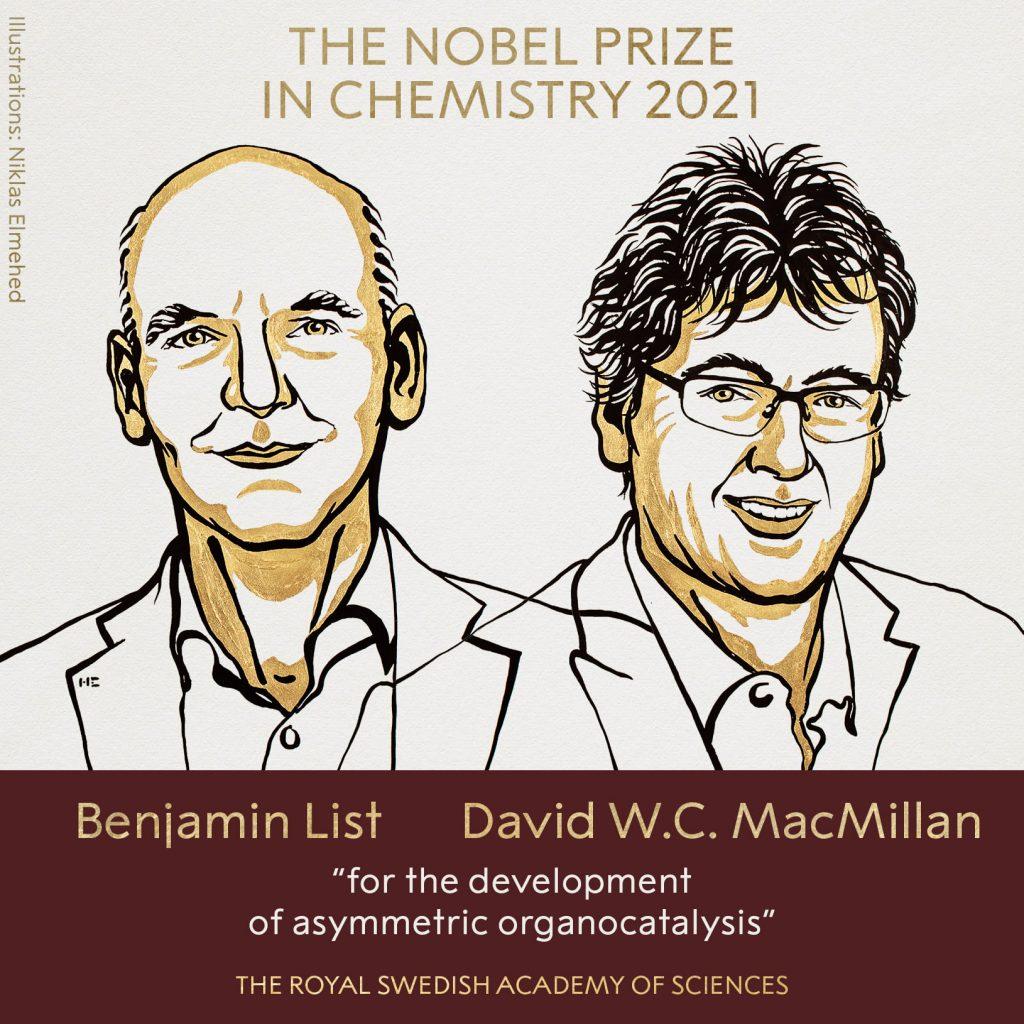 """Двама учени печелят Нобеловата награда по химия за 2021 г. """"за развитие на асиметрична органокатализа"""""""